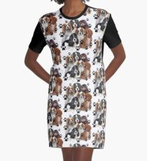 Cavalier Spaniel Family Group Graphic T-Shirt Dress