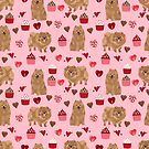 Pomeranian valentines day love hearts cupcakes pattern cute puppy dog breeds by pet friendly by PetFriendly by PetFriendly