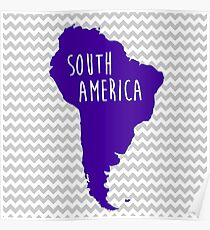 South America Chevron Continent Series Poster