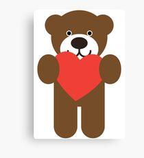Teddy Bear Heart Canvas Print