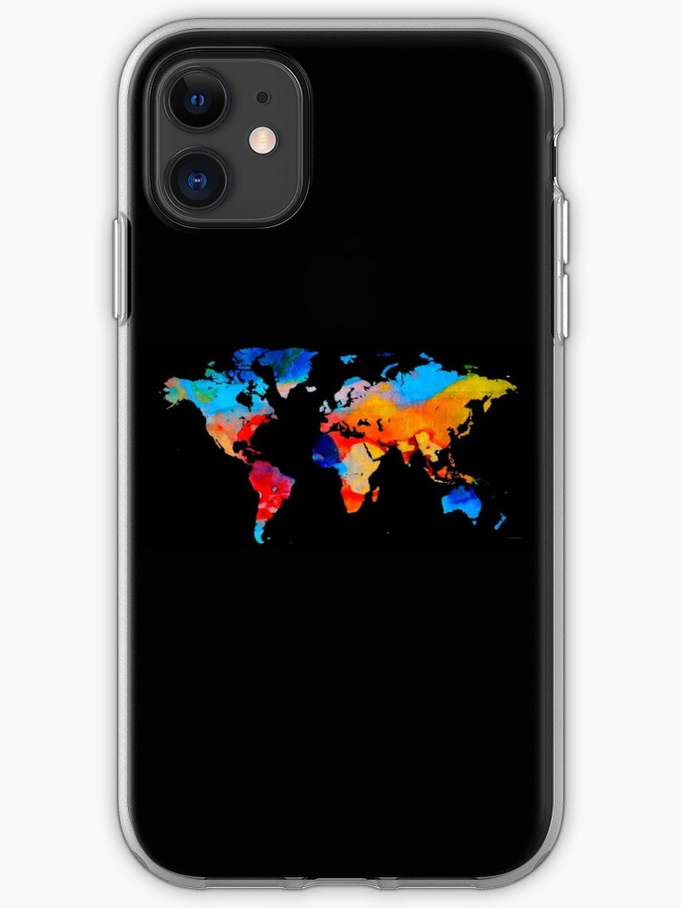Map of the world colored iPhone 11 case