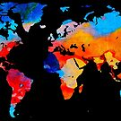World Map 18 Black Background by Sharon Cummings