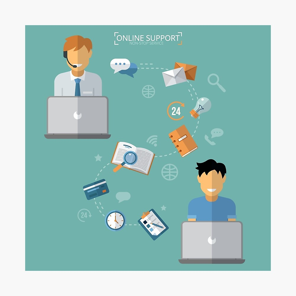 Concept of Technical Online Support. Computer Remote Nonstop Support Service Photographic Print