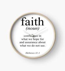 Hebrews 11:1 Faith Definition Black & white Bible verse Clock