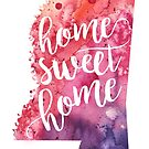 Mississippi Watercolor Map - Home Sweet Home Hand Lettering  by Andrea Hill