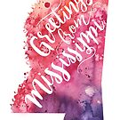 Mississippi Watercolor Map - Greetings from Mississippi Hand Lettering  by Andrea Hill