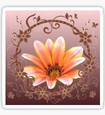 Red-yellow chamomile with floral frame Sticker