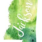 Mississippi Watercolor Map - Jackson Hand Lettering  by Andrea Hill