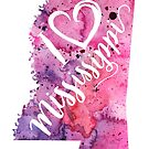 I Heart Mississippi Watercolor Map - With Calligraphic Hand Lettering by Andrea Hill