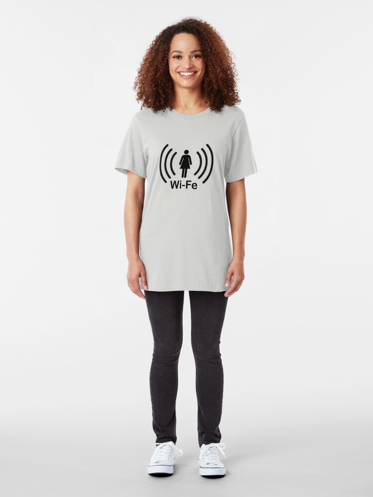 Alternate view of Wife - another Wi-Fi parody Slim Fit T-Shirt