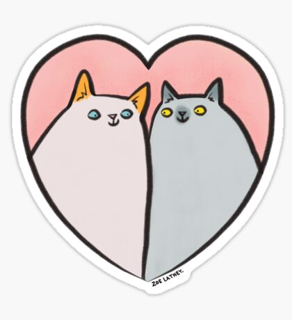 Kitty Cat Love Heart Sticker