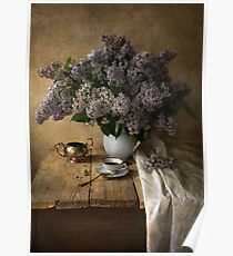 Still life with bouquet of fresh lilac Poster