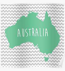 Australia Chevron Continent Series Poster