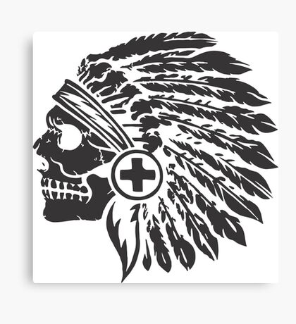 Native Headdress and skull Canvas Print