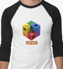 'Expert' Builder T-Shirt Featuring a Brick Built Rainbow Puzzle Men's Baseball ¾ T-Shirt