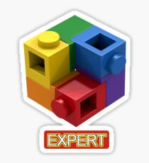 'Expert' Builder T-Shirt Featuring a Brick Built Rainbow Puzzle Sticker