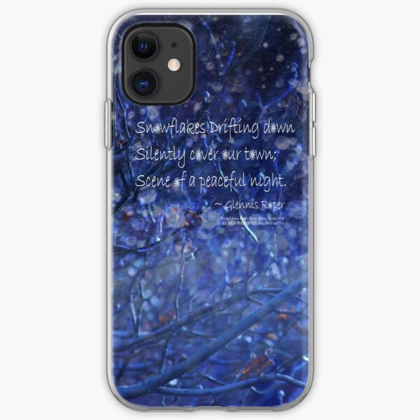 snowflake in blue 7 haiku with texture iPhone Soft Case