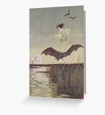 Little Witch Riding Bat by Ida Rentoul Outhwaite Greeting Card