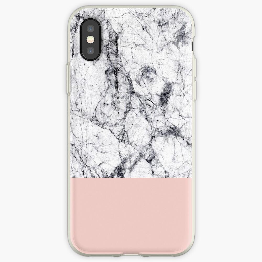 Weißer Marmor auf Roségold iPhone-Hüllen & Cover