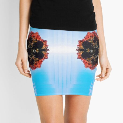 Trees Reflected into a Floral Pattern Mini Skirt