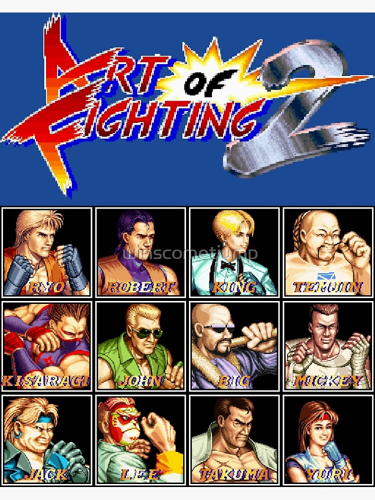 Art Of Fighting 2 Neo Geo Character Lineup Greeting Card By Winscometjump Redbubble