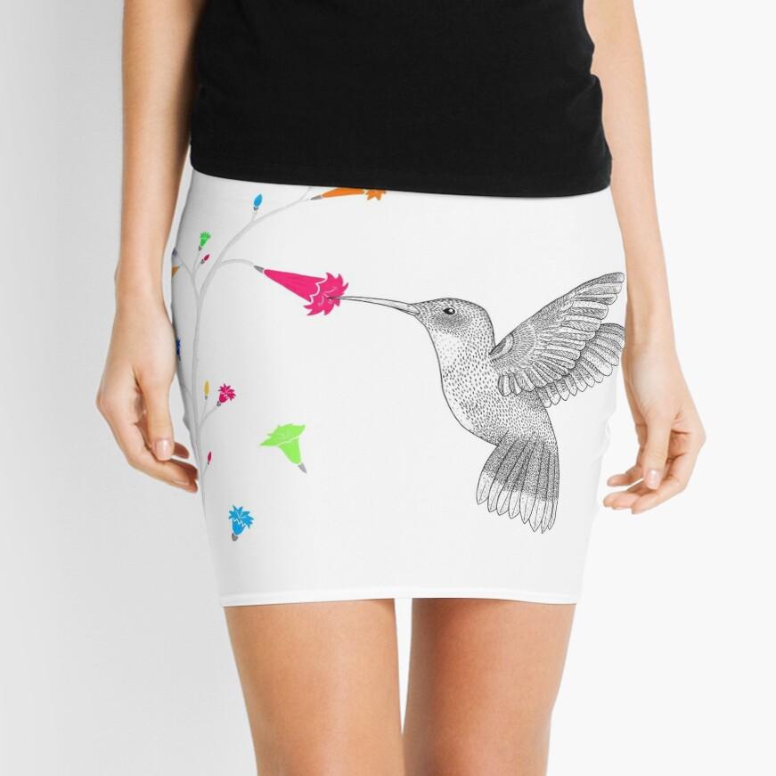 Colorful hummingbird Mini Skirt