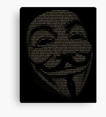 V For Vendetta You May Call Me V Canvas Print
