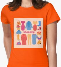 Shopping and Beauty Set in Flat Design Women's Fitted T-Shirt