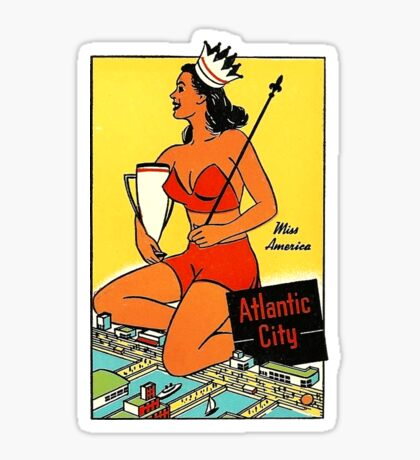 Atlantic City Miss America Vintage Travel Decal Sticker