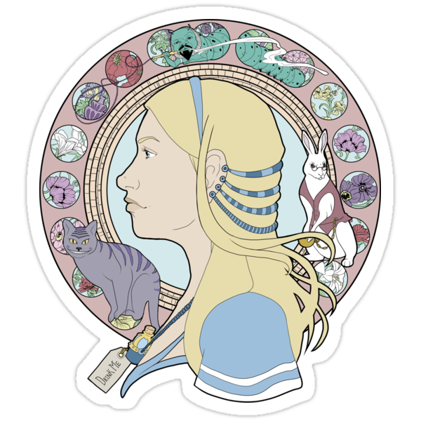 Alice in Wonderland Colorful Art Nouveau Mucha Art Deco Style by Christina Smith