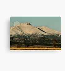 Moonset Over Meeker  and Longs Peak  Canvas Print