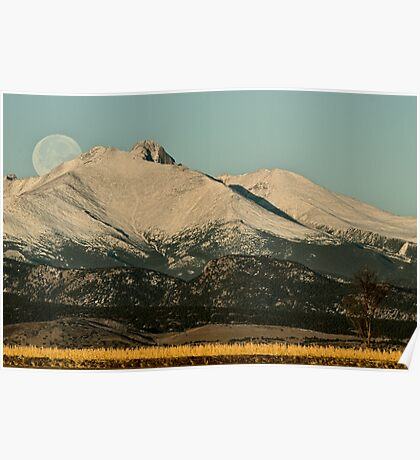 Moonset Over Meeker  and Longs Peak  Poster