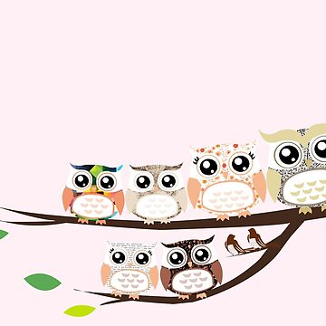 Owl family by Marialeones