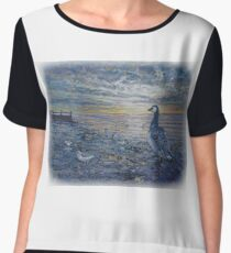 Brent goose and waders  Chiffon Top