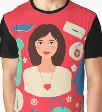Shopping Spring in Flat Design with Woman Graphic T-Shirt