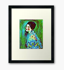 Art Nouveau Woman on Green  Framed Print