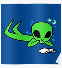 Alien Reading a Book Poster