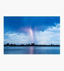 Lone bolt of lightning near Ulmarra, NSW Photographic Print