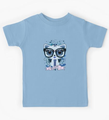 Nice Kitty - White & Blue Kids Clothes