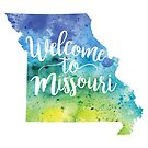 Missouri Watercolor Map - Welcome to Missouri Hand Lettering by Andrea Hill