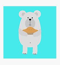 Polar Bear with pie Photographic Print