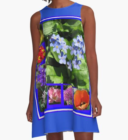 Waltz of the Flowers Collage A-Linien Kleid