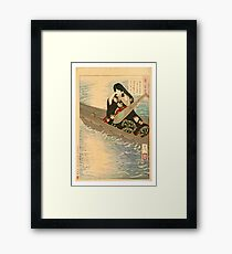 Ariko Weeps as Her Boat Drifts in the Moonlight. Framed Print