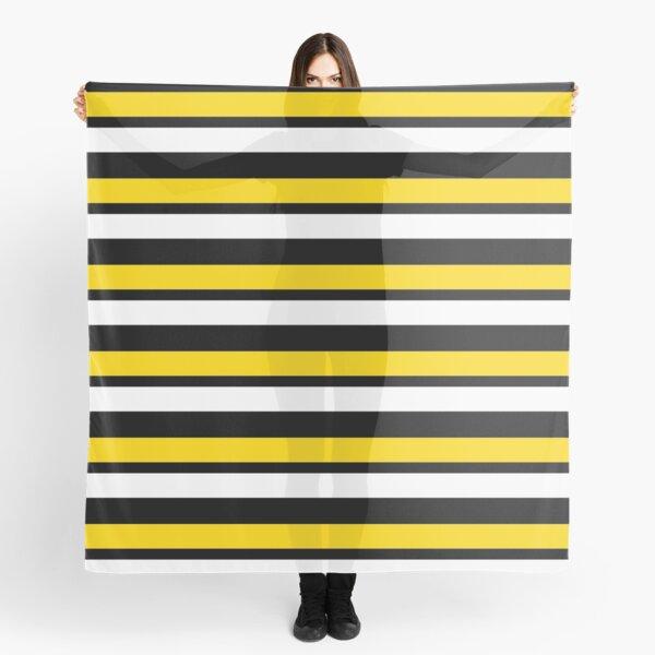Yellow-Gold White & Black Horizontally-Striped Scarf