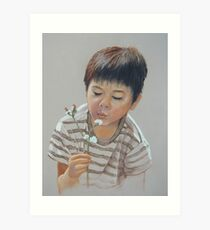 Sweet little Koby blowing fluffy weeds ! Art Print