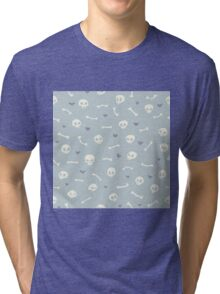 Cartoon Skulls with Hearts on Light Blue Background Seamless Pattern  Tri-blend T-Shirt