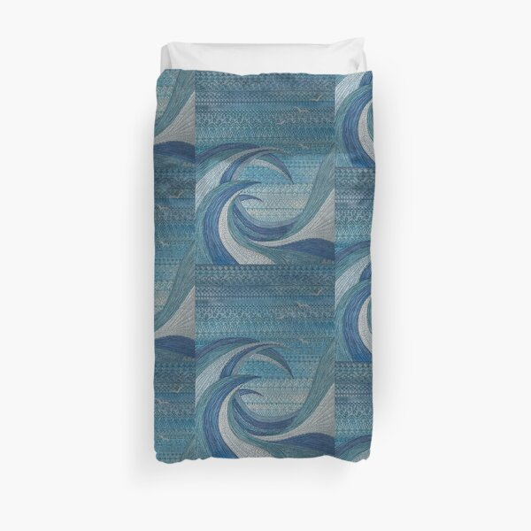 The Churning (embroidered seascape) Duvet Cover