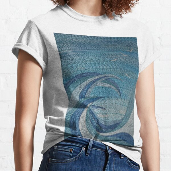 The Churning (embroidered seascape) Classic T-Shirt