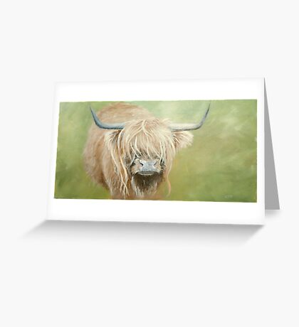Hairy coo (cow) in grass Greeting Card