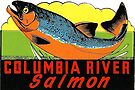 Columbia River Salmon Vintage Travel Decal by hilda74